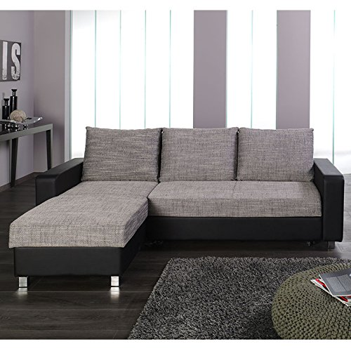 ecksofa schlafsofa federkern seiten universell montierbar schwarz grau. Black Bedroom Furniture Sets. Home Design Ideas