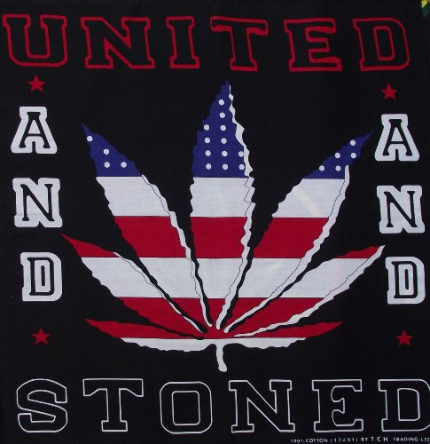 United and Stoned Marijuana Cannabis Handkerchief Headwrap Bandana C15