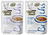 Fancy Feast Broth for Cats Tuna, Shrimp & Whitefish and Creamy Wild Salmon & Whitefish, 1.4 Oz Pouch, Pack of 24