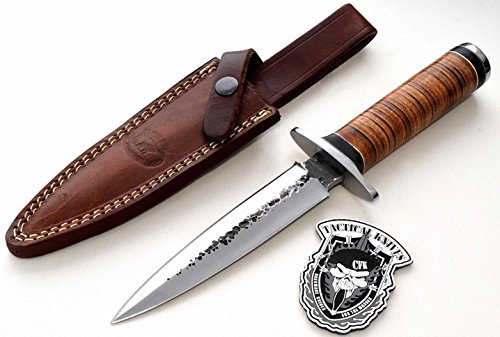 CFK Cutlery Company Custom Handmade Hammered BRITISH COMMANDO II D2 Tool Steel Tactical Combat Dagger Knife with Leather Sheath &