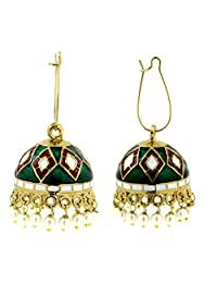 The Jewelbox Maroon Green White Gold Plated Meenakari Pearl Enamel Jhumki Earring For Women