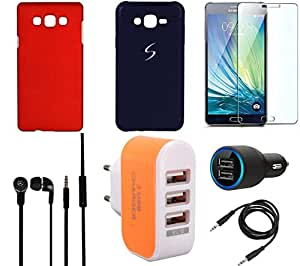 NIROSHA Tempered Glass Screen Guard Cover Case Car Charger Headphone Charger car for Samsung Galaxy ON5 - Combo