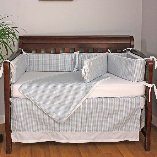 Hoohobbers Crib Bedding Set, Baby Blue, 4 Piece