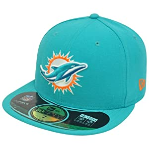 NFL Miami Dolphins 59Fifty 5950 Official On Field Game Fitted Hat Cap Aqua by New Era