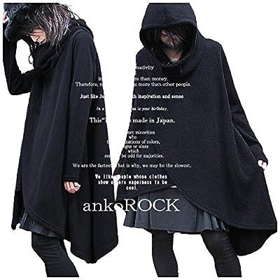 (アンコロック) ankoROCK ロングコート ポンチョコート マント フード付き 無地 黒 ブラック