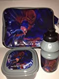 Marvel Comics The Amazing Spiderman Children's Lunch Bag Set - Bag with handle strap, Lunch Box and Sports Bottle