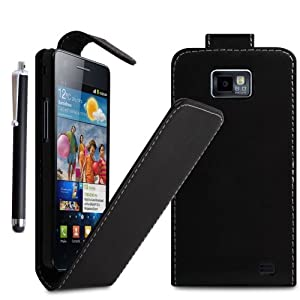 STYLEYOURMOBILE {TM} SAMSUNG GALAXY S2 S II I9100 PU LEATHER MAGNETIC FLIP SKIN CASE COVER POUCH + STYLUS (Black)