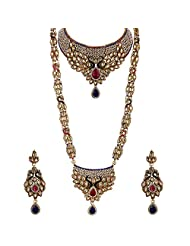 Lucky Jewellery Rani Blue Gold Plated Peacock Bridal Set For Women