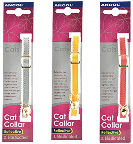 3-X-Ancol-Reflective-Elasticated-Cat-Collars-Bulk-Buy-Save-Money