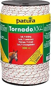 Patura Tornado XXL Seil, 200 m Rolle 6 Niro 0,20 mm, 3 Cu 0,30 mm, weiß-rot