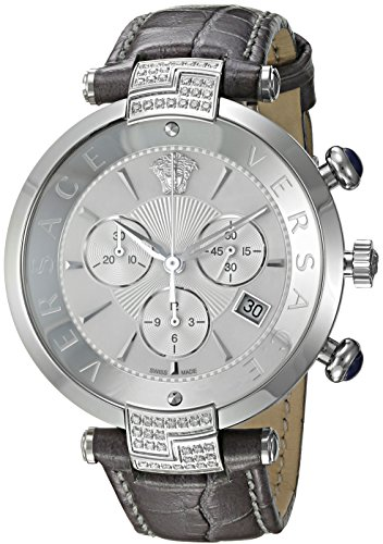 Versace-Womens-REVE-Swiss-Quartz-Stainless-Steel-and-Leather-Casual-Watch-ColorGrey-Model-VAJ070016