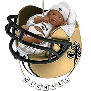 NFL New Orleans Saints Personalized African-American Baby Christmas Ornament by The Bradford Exchange