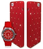 Bling Diamante Crystal Silicone Unisex Watch with Case for Apple iPhone 5 5S - Red