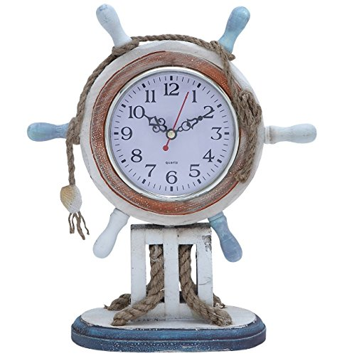 Nautical Wooden Clock, Ship Steering Wheel, Rope, 11-inch, Blue White Red, Tabletop (Ship Steering Wheel Table compare prices)