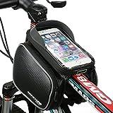 MOREZONE フレームバッグ 5.7インチ自転車スマホホルダー フロントバッグ iphone 6S Pls/6s/5s対応 スマートフォンサドルバッグ収納アクセサリー 黒