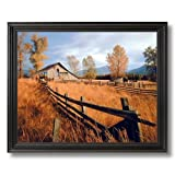Old Wood Barn And Fence Fall Trees Home Decor Wall Picture Black Framed Art Print