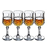 Crystal Wine Glasses Set of 4 by Bella Vino - 5.5 Ounce - Old Fashioned Designed Carved Wine Glass - Lead-Free Short Stem Champagne Goblets - Durable and Dishwasher Safe - for Family Dinner, Parties
