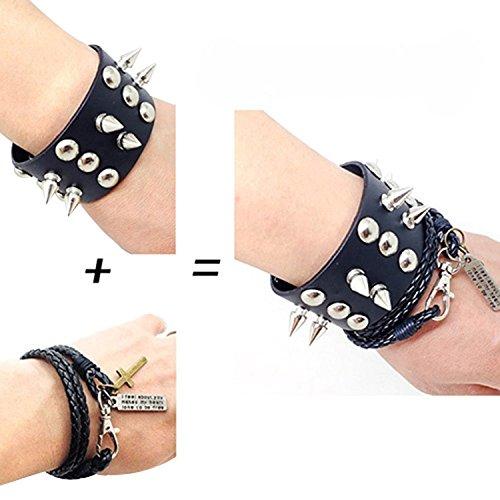 Dansuet Rivet Spike collana punk in pelle nera con borchie e del braccialetto della corda del tessuto del vestito Wristband, Rivetto Spike borchia per le donne