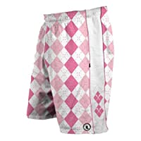 Flow Society Authentic Lacrosse Gear Argyle Pink Lax Mesh Short Youth Large