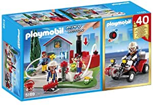 Playmobil - 5169 - Figurine - Compact Set Anniversaire - Brigade De Pompiers Avec Quad