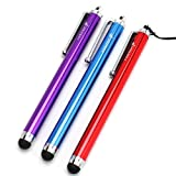 Fosmon Trio Capacitive Tip Stylus Pack for Kindle Fire - Blue, Red, Purple