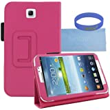 Iwotou Hot Pink PU Leather Stand Case Cover with Stylus Slot Holder Design for Samsung Galaxy Tab 3 7.0 Inch Tablet + Accessories Free Offered By Manufacturer