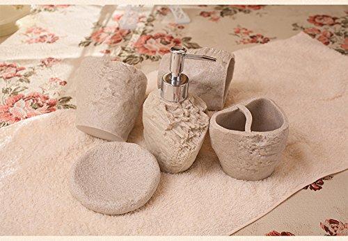queens-resin-sand-rock-bath-4-piece-set-bathroom-kit-vanity-emulsion-bottle-5-kit