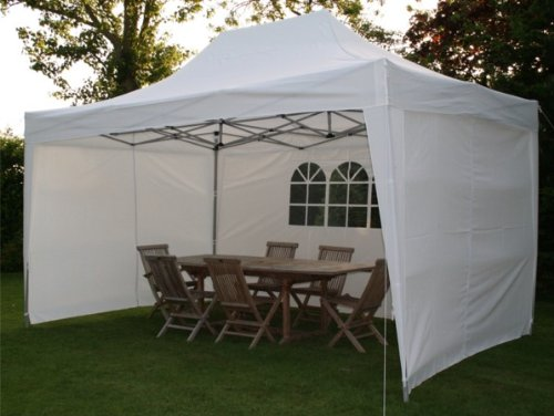 4.5mtr x 3mtr White Pop Up Gazebo, FULLY WATERPROOF, with Four Side Panels, Integral Windbar and Carry Bag