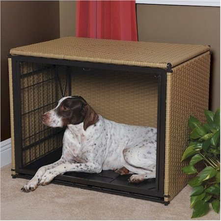 """Side Load Pet Residence Size: Small (21"""" H X 24"""" W X 18"""" D), Color: Medium Brown front-649113"""