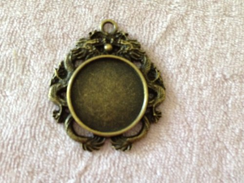 2 Piece 20MM Antiqued Bronze Round Double Dragon Bezel Pendant Charm Setting Jewelry Findings
