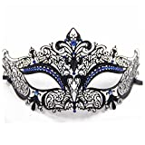 Mascara - TOOGOO(R)Mascara de media cara de fantasma de filigrana de metal brillante para mascarada veneciana (Negro / Azul piedra)
