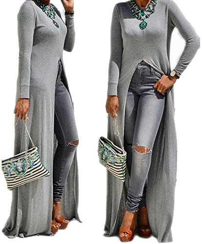 Women Round Neck Long Sleeve Sexy Open Front Slit Maxi Dress Solid Tunic Tops