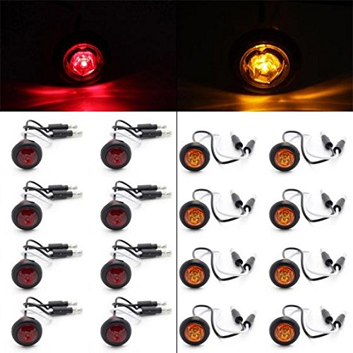 Partsam 8 Pcs Red & 8 Pcs Amber 3/4 Inch Mount Clear Lens LED Bullet Light Lamp Truck Trailer Round Side Marker(Total of 16 Pcs) (Ford F150 Side Marker Lights compare prices)
