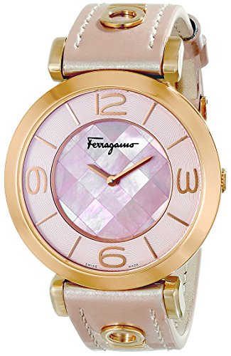 Salvatore-Ferragamo-Womens-FG3030014-GANCINO-DECO-Stainless-Steel-Watch-With-Pink-Leather-Band