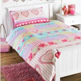 HEARTS & PINK CANDY STRIPE GIRLS BEDDING - SINGLE DUVET COVER SET