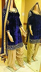 Shree Fashion Woman's Velvet With Dupatta [Shree (81)_Blue]