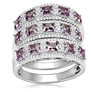 Sterling Silver and Square Amethyst Stack Ring, Size 6