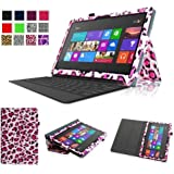 Fintie Folio Case for Microsoft Surface RT / Surface 2 10.6 inch Tablet Slim Fit with Stylus Holder (Does Not Fit Windows 8 Pro Version) - Leopard Pink