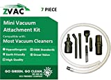 Mini Micro Tool Attachment Set (7 Piece) Fits ALL Vacuum Cleaners; Perfect for Hard-To-Reach Areas - Office Equipment, Bookshelves, Computers, Car Detailing, Stereo Equipment, Video Equipment, Typewriters, Auto Interiors, Sewing Machines and More; By ZVac