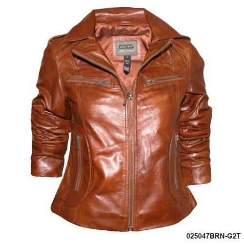 Ladies Brown Soft Nappa Zoe Leather Jacket G2T Size Ladies Size 16 (XXL)