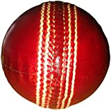 Raisco One Star Cricket Leather Ball - Size: 4, Diameter: 7.5 Cm (Pack Of 1, Red, White)