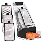 Professional Cheese Box Grater shredder with Catch Food Container Base and 3 interchangeable stainless steel blades by Fullstar