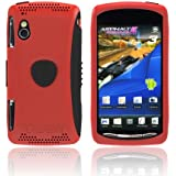 For Sony Xperia PLAY Red Black OEM Trident Aegis Hard Silicone Shell Case Cover w Screen Protector AG-XPER-PY-RD