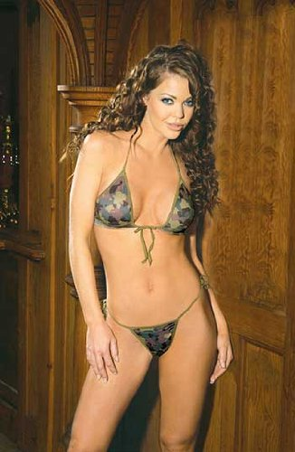 Camouflage print string bra top & matching tie side g-string 1487