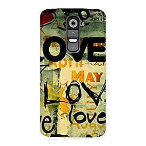 Love Typo Multicolor Back Case Cover for LG G2