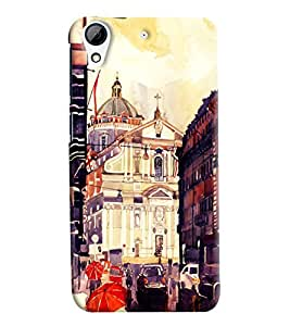 Blue Throat Chruch Painter With Water Paint Printed Designer Back Cover For HTC Desire 728