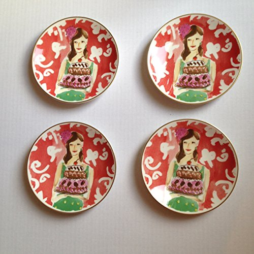 Lenox Illustrated Just Desserts Tidbit Plates Set/4 Kate Spade