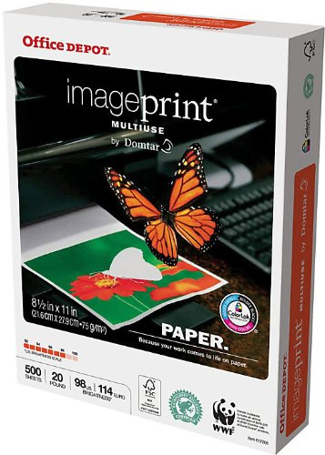 Office Depot(R) Brand ImagePrint(R) Multiuse Paper by Domtar, 8 1/2in. x 11in., 20 Lb, FSC Certified, White, Ream Of 500 Sheets