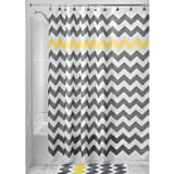 InterDesign Chevron Shower Curtain, 72 x 72-Inch, Gray/Yellow