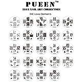 PUEEN 2013 Nail Art Stamp Collection Set 24E - LOVE ELEMENTS - Neue einzigartige Set von 24 polnischen Nailart Stamping Manicure Speicherfolien Zubehör-Kit (insgesamt 144 Bilder) mit neuen BONUS-Speicher-Fall in der hellblauen Farbe